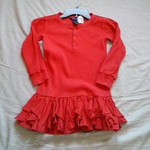 Ralph Lauren red long-sleeved dress size 5